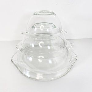Vintage Pyrex Clear Glass Cinderella Mixing Bowls